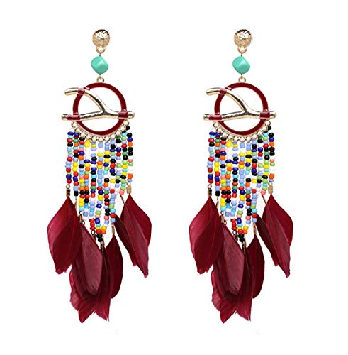Pendientes de plumas pendientes de borla accesorio de joyería B