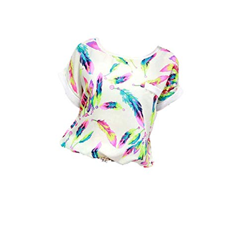 Chiffon Bluse 3/4 Arm Schulterfrei Langarmshirts Federdruck Elegante Kleider Damen Tunika Blusen Shirt mit Volant Trompetenärmeln Carmenbluse Cut Out Shirt Loose Fit Oberteile Kurzarm