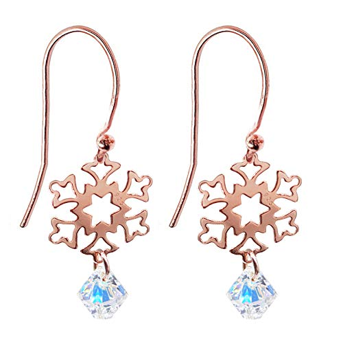 Ah! Jewellery 18K Rose Gold Vermeil Over Sterling Silver Open Work Snowflake and AB Xilion Crystals From Swarovski Fish Hook Earrings, Intricate and Feminine Design. Stamped 925.