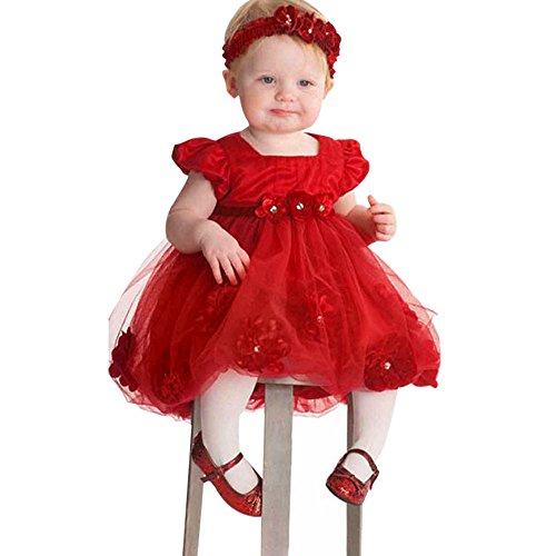 Luoluoluo jurken baby meisjes 6-24 maanden Tutu prinsesjurk rood gebloeid kanten jurk voor bruiloft verjaardag ceremonie babyparty, met hoofdband als geschenk