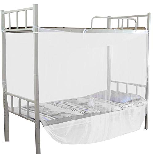 Wifehelper Mosquito Net, 4 Corner Post Bed Canopy Mosquito Net for Student Dormitory White Mosquito Netting Twin Full Queen Size Netting(Twin)