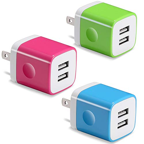 USB Wall Charger, BEST4ONE 2.1A/5V Dual Port USB Plug Power Adapter Charging Block Compatible with Phone XR/XS/X 8/7/6 Plus SE/5S/4S, Samsung, Moto, Kindle, Android Phone (Pack-3)