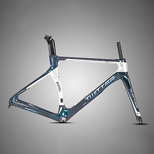 Cuadro de bicicleta de carretera Freno de disco Cuadro de carretera de fibra de carbono Pintura que cambia de color Cuadro de bicicleta de carretera de viento roto ( Color : Blanco , tamaño : XL )