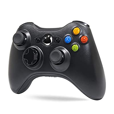 Wireless Controller for Xbox 360, Tiiroy 2.4GHZ Wireless Controller Joystick Gamepad Remote for Xbox360 PC Windows 7,8,10 (Black) from Tiiroy