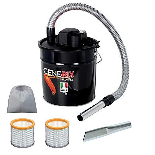 Ribitech Cenerix Aspirateur à cendres électrique, 800W, 18L, avec double filtre et embout plat