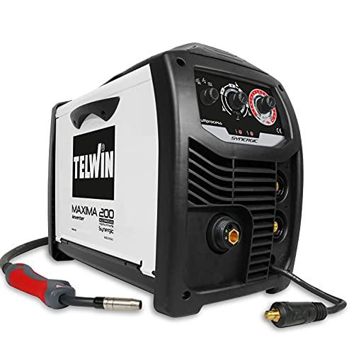 Telwin 816087 MAXIMA 200 SYNERGIC - Soldadora inverter multiproceso de hilo MIG-MAG/FLUX/BRAZING/MMA/TIG-LIFT, 230V
