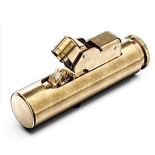 Raelf Retro Golden Creative Wheel Flint Lighter for Collectible Gift Portable Vintage Kerosene Petrol Lighter, Brass Stylish Oil Refillable Lighter, (Kerosene not include)