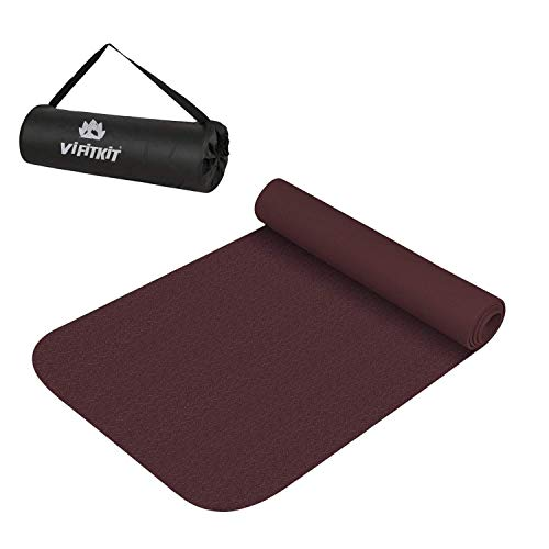 VIFITKIT Extra Cushion Soft Texture Yoga Mats for Home Gym and Outdoors with Free Carrying Bag (4mm, Wine)