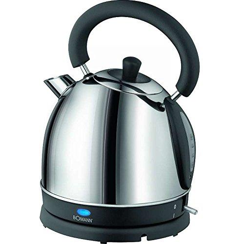 Edelstahl Wasserkocher 1,8 Liter (Teekessel, 1800 Watt, kabellos, Wasser-Kessel, verdecktes Heizelement)