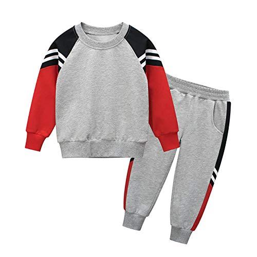 DTZW Chándal casual de manga larga para niño con cuello redondo + pantalones, 2 piezas, estilo primavera y otoño (color: A-rojo, talla: 90)