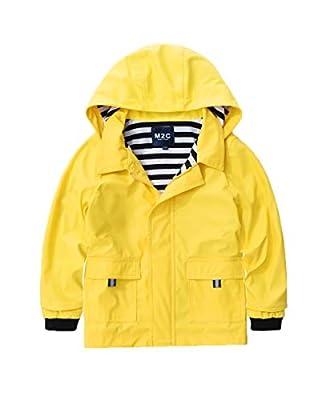 M2C Boys & Girls Hooded Waterproof Rain Jacket Cotton Lined Windbreaker 7/8 Yellow