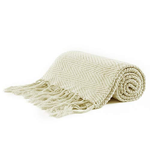 Longhui bedding Cream Fringe Knit Cotton Throw Blanket, 60 x 80 Inches Decorative Knitted Cover with 6 Inch Tassels, Bonus Laundry Bag – 4.8lb Weight, Bed Blankets, Beige Ivory-Pale Colors