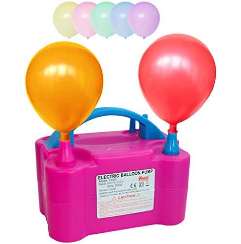 SKYRI Bomba de Globos Electrica Inflador de Globo Electric ,110V 600W Balloon Blower Pump Portable Dual Nozzle Inflators for Fiesta Party Decoration