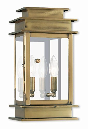 Livex Lighting 2014-01 Transitional Two Light Outdoor Wall Lantern from Princeton Collection Finish, Antique Brass