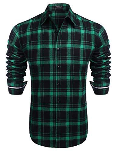 COOFANDY Herrenhemd Langarm Kariertes Slim Fit Freizeithemd Easy Ironing Herren (Green, XL)