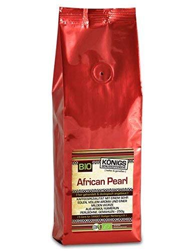 KÖNIGs Genussoffensive Fairtrade Kaffee, 100% African Perlbohne Blue Mountain, ganze Kaffeebohnen, schonende Langzeitröstung, 250 g - Bremer Gewürzhandel