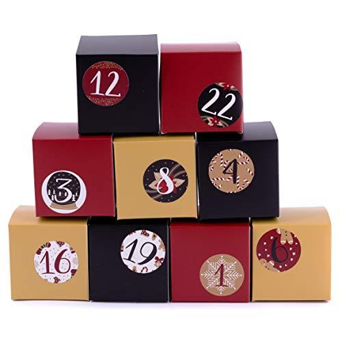 Calendario de Adviento para rellenar (24 unidades), color dorado