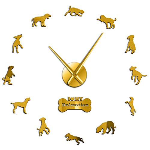 Reloj de Pared Grande DIY de Raza de Perro dálmata, Carro de Perro, Reloj de Pared Colgante sin...
