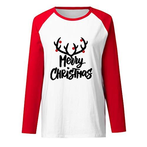 Women Merry Christmas T-Shirt Casual Loose Long Sleeve Letter Xmans Tree Print Baseball Fall Winter Light Blouse Top Tee