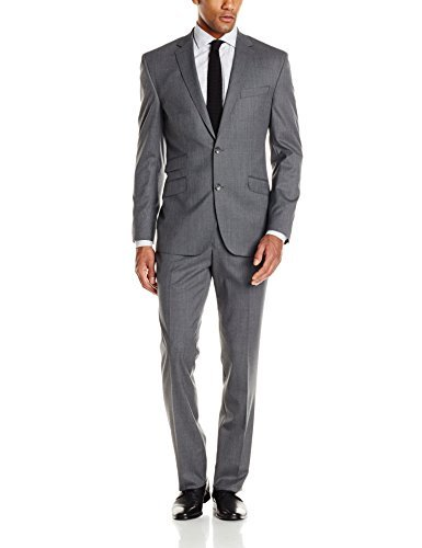 Kenneth Cole New York Men's Solid Slim Fit 2 Button Side Vent Suit, Grey, 42 Regular