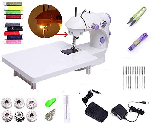 Fantastic Prices! HAOCHIDIAN Mini Portable Sewing Machine with Extension Table,Adjustable Double Spe...