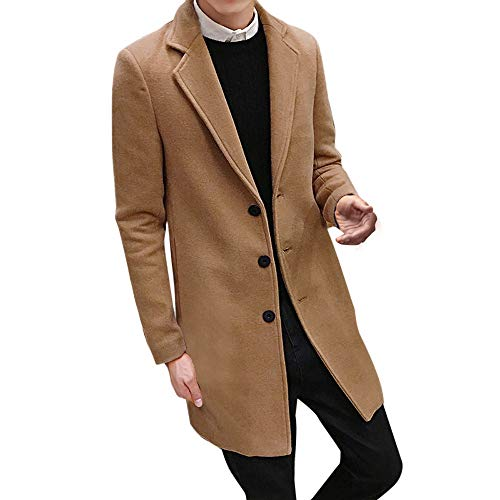 Toimothcn Men Single Breasted Pea Coat Formal Business Blazer Suit Long Jacket Outwear (Khaki,5XL)