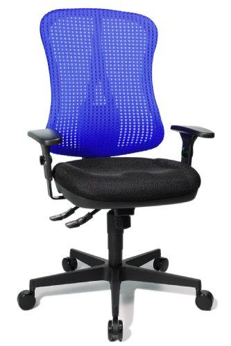 Topstar HE20PBC08 Head Point SY 'P4', ergonomischer Bürostuhl, Schreibtischstuhl, Muldensitz, inkl. Armlehnen, Netzrücken, Stoffbezug schwarz/blau