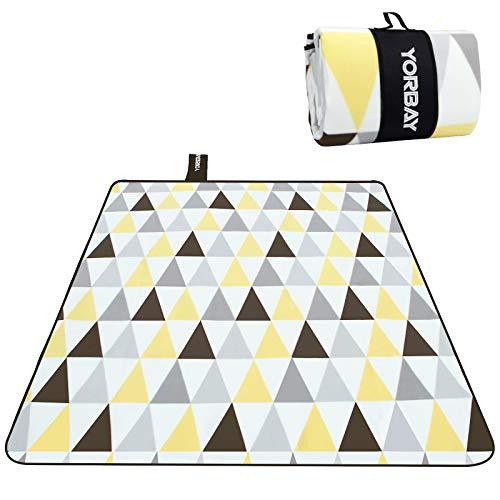 Yorbay Picknickdecke 200 x 200 cm XXL Fleece wasserdicht Decke mit Tragegriff Mehrweg (Dreieck)