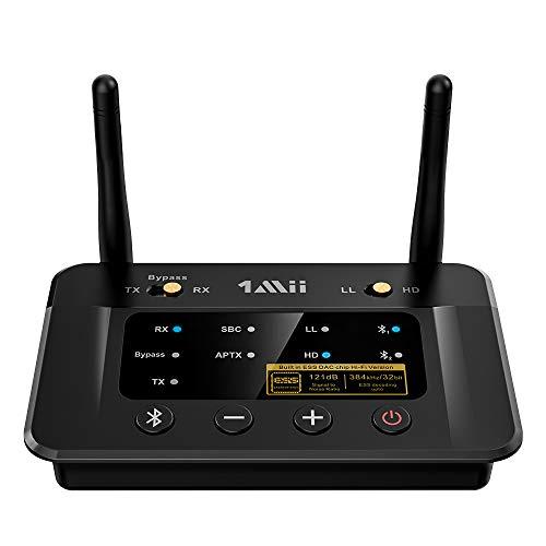 1mii Trasmettitore Ricevitore Bluetooth 5.0 Bypass 3 en 1, Adattatore Bluetooth Ess DAC APTX Bassa Latenza, HiFi 3,5mm/ Ottica/RCA per Impianto Stereo, Bluetooth per TV Dual Link Cuffie, Distanza 80m