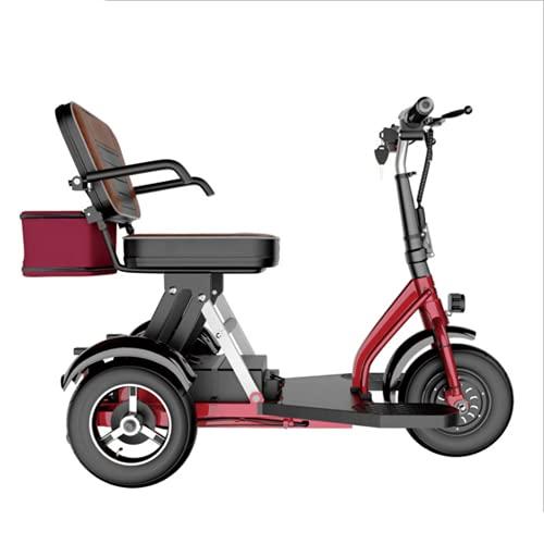 EWYI Scooter De Movilidad De 3 Ruedas Coche Eléctrico Plegable para Discapacitados con 3 Cambios De Marcha, Triciclo Eléctrico Ligero para Adultos Mayores Discapacitados 10AH/35KM