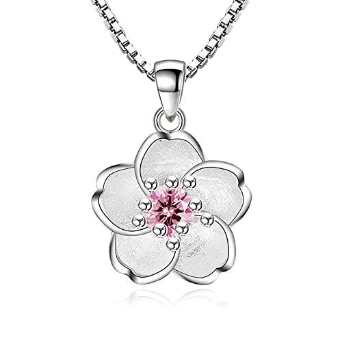 cristal brillante de plata Flores de cerezo flor flor moda damas collares colgantes mujeres caja corta cadena boda