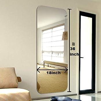 Quality Glass Metal Glass Frameless Decorative Mirror (18 x 36 Inch, Silver)