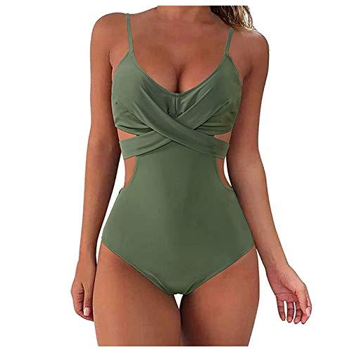 CYGGA Traje de baño de una sola pieza para mujer, sexy push-up, acolchado, monokini monocolor, traje de baño para la playa Green-a. XL