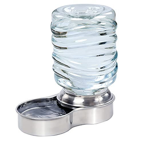 Etna Stainless Steel Pet Dog Cat Water Fountain Bowl, Holds 3 Liters