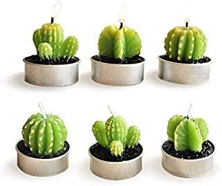 Luvu Cactus Candles, Mini Cute Tealight Candles for Christmas, Home, Decor, Birthday, Party, Wedding 6 Pcs (Gift Wrap)