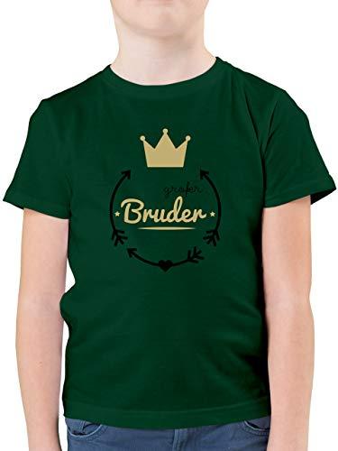 Geschwisterliebe Kind - Großer Bruder - Krone - 104 (3/4 Jahre) - Tannengrün - Tshirt grosser Bruder - F130K - Kinder Tshirts und T-Shirt für Jungen
