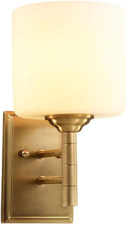 ZDD Volle Kupferglaswandlampe, minimalistisches Wohnzimmer-Schlafzimmer-Glas-dekoratives Licht-E27 der amerikanischen Ureinwohner-Lichtquelle (Farbe   Messing-14x26cm)