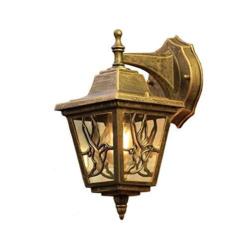 Aplique pared campo, vidrio transparente, acabado bronce frotado con aceite, patrón pájaro retro, decoración, lámpara pared, iluminación porche, patio, balcón, jardín, impermeable, E27, luz pared 10