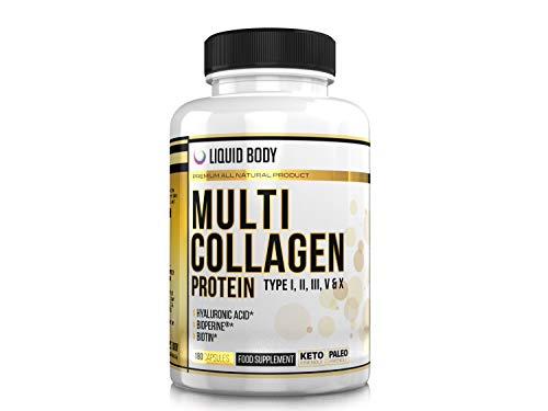 Liquid Body Multi Collagen Protein, 180 Capsules (3 Months Supply) Type I, II, III, V, X Collagen, Chicken Blend, Wild Caught Fish, Grass-Fed Beef Peptides, Eggshell with Hyaluronic Acid, Biotin