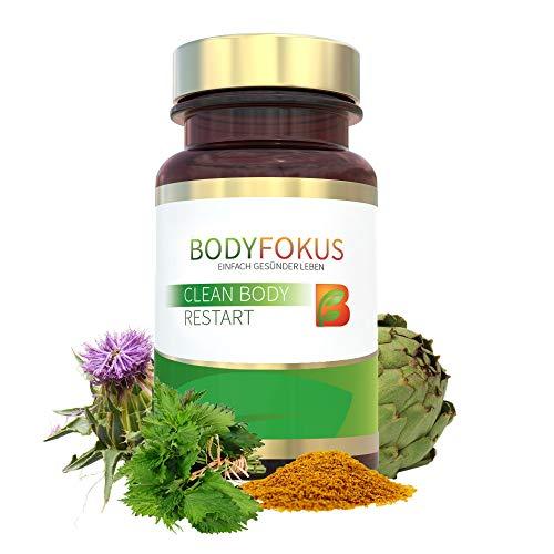BodyFokus Clean Body Restart | Mit Mariendistel (80% Silymarin), Artischocke, Brennessel, Kurkuma (95% aktive Curcuminoide), Chlorella, Klettenwurzelpulver u.v.m | 1 Dose
