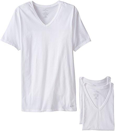 Calvin Klein Men's Cotton Classics Short Sleeve V-Neck T-Shirt, White (3 Pack), Large