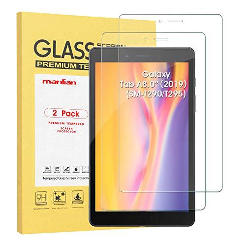 Manlian [2 Stück] Panzerglas Schutzfolie kompatibel mit Samsung Galaxy Tab A 8 2019 (Modell:SM-T290, SM-T295). Gehärtetem Glas Bildschirmschutzfolie.
