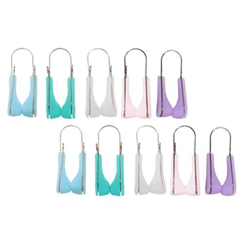 Lurrose Lot de 10 pinces à épiler en silicone pour femme 5 couleurs