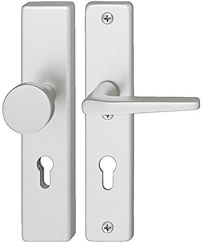 Gedotec Wechselgarnitur Langschild Tür-Schutzbeschlag Wohnungstür Türbeschlag Knopf - Drücker - H9050 | Dornmaß 72 mm | Aluminium silber eloxiert | 1 Set - Sicherheitsbeschlag mit Türknauf & Türklinke