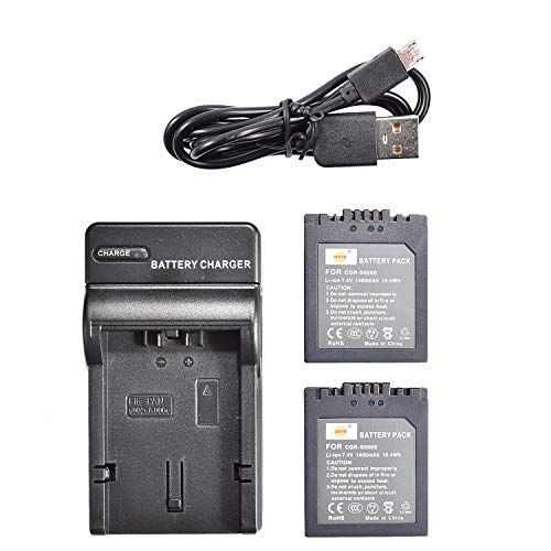 DSTE S006E Li-Ionen Batterie (2-Pack) & Micro USB Ladegerät Anzug kompatibel mit Panasonic CGR-S006E CGR-S006A1B CGA-S006 Lumix DMC-FZ18 DMC-FZ8 DMC-FZ38 DMC-FZ35 DMC-FZ7 Leica V-LUX1 Kamera