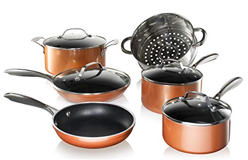 Gotham Steel Copper Cast 10 Piece Pots and Pans Set with Ultra Nonstick Diamond Surface, Includes Frying Pans, Stock Pots, Saucepans & More, Stay Cool Handles, Oven & Dishwasher Safe, 100% PFOA Free