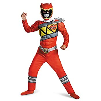 Red Power Rangers Costume for Kids Official Licensed Red Ranger Dino Charge Classic Muscle Power Ranger Suit with Mask for Boys & Girls Small  4-6