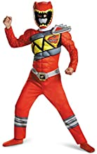 Red Power Rangers Costume for Kids. Official Licensed Red Ranger Dino Charge Classic Muscle Power Ranger Suit with Mask for Boys & Girls, Small (4-6)