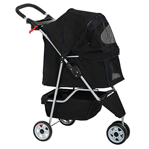 Dog Stroller Pet Stroller Cat Stroller for Medium Small Dogs Foldable Travel 3 Wheels Waterproof Puppy Stroller,Black