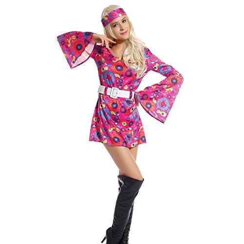 Déguisement Costume Tenue Hippy Hippie Femme Robe 60s 70s GOGO Retro Fleur Flower Power avec Manche